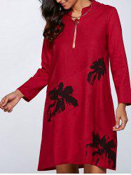 Floral Print Linen Pocket Design Dress