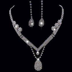Rhinestoned Teardrop Shape Jewelry Set - SILVER