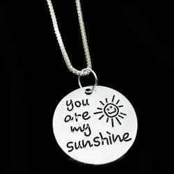 Engraved You Are My Sunshine Alloy Necklace