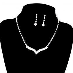 V Shape Rhinestone Wedding Necklace Set - WHITE GOLDEN