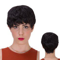 Short Full Bang Layered Straight Synthetic Wig - BLACK
