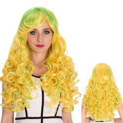 Bright Coloured Inclined Bang Shaggy Wavy Cosplay Synthetic Wig -