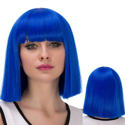 Prevailing Synthetic Cosplay Short Full Bang Bob Haircut Wig - BLUE