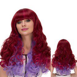 Wine Red Gradient Purple Long Full Bang Wavy Cosplay Synthetic Wig