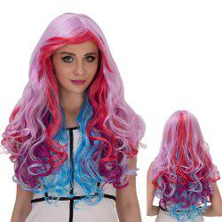Colorful Long Inclined Bang Wavy Cosplay Synthetic Wig - COLORMIX