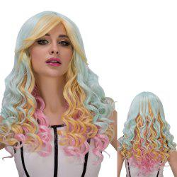 Colorful Long Oblique Bang Wavy Cosplay Synthetic Wig