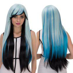 Cosplay Synthetic Long Multicolor Oblique Bang Straight Wig