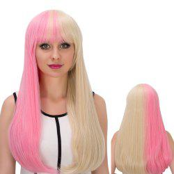 Long Full Bang Tail Adduction Double Pink Gold Color Cosplay Synthetic Wig
