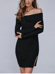 Off The Shoulder Slit Bodycon Dress