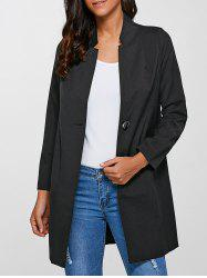 Single-Buttoned Slimming Coat - BLACK