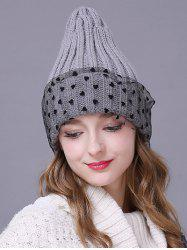Warm Heart Lace Flanging Knit Faux Wool Ski Hat