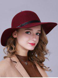 Chain Ribbon Floppy Wool Felt Jazz Hat