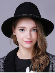 Streetwear Knotted Double Rivet Bands Felt Jazz Hat - BLACK