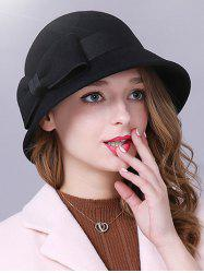 Big Bowknot Band 1920s Felt Cloche Hat