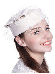 Winter Bowknot Veil Felt Pillbox Hat - WHITE