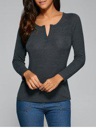 Long Sleeve V Neck Plain T-Shirt