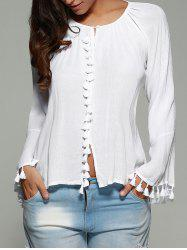 Long Flare Sleeve Tassel Cuff Blouse - WHITE