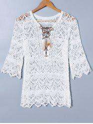 Lace Up Crochet Cover Ups For Swimwear -