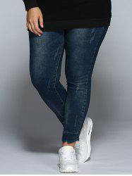 Plus Size Pencil Jeans - DENIM BLUE 4XL