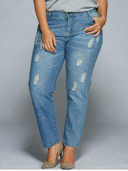 Plus Size Ripped Bodycon Jeans - DENIM BLUE