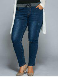 Plus Size Drawstring Bodycon Jeans - DENIM BLUE