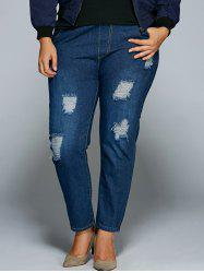 Plus Size Broken Hole Bodycon Jeans - DEEP BLUE 5XL