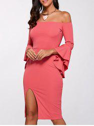 Bell Sleeve Off Shoulder High Slit Dress