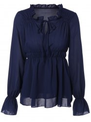 Chiffon Front-Tie Shirred Blouse