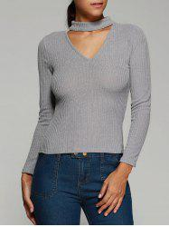Ribbed Front Cut Out Knitwear - GRAY S