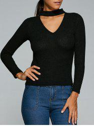 Ribbed Front Cut Out Knitwear - BLACK