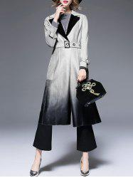 Lapel Suede Ombre Belted Coat -