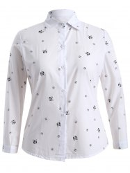 Plus Size Puppy Print Buttoned Shirt -