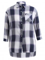 Plus Size Asymmetrical Plaid Shirt