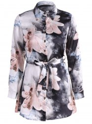 Floral PrintedBelted Shirt Dress -
