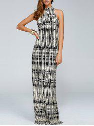 Bohemian Printed High Neck Sleeveless Maxi Dress