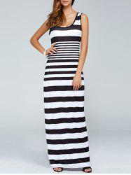 Stripe Printed Casual Maxi Tank Dress