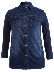 Plus Size Topstitched Button Down Outerwear - DEEP BLUE