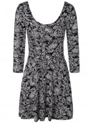 3/4 Sleeve Floral Print Slimming Dress -