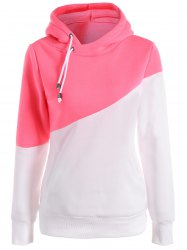 Long Sleeves Color Block Hoodie - PINK AND WHITE L