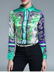 Long Sleeve Fitted Tribal Printed Shirt - GREEN L
