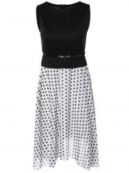Polka Dot Color Block Spliced Dress -