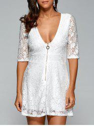 Plunging Neck Zipper Lace Openwork Dress