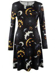 Bat Print Long Sleeve Mini Halloween Swing Dress - BLACK