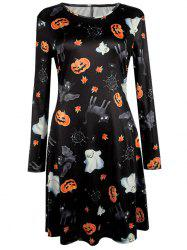 Pumpkin Halloween Print Long Sleeve Mini Swing Dress - BLACK XL