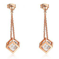 Pair of Rhinestone Square Drop Earrings