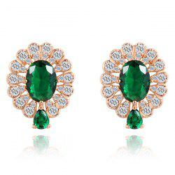 Pair of Faux Gem Rhinestone Stud Earrings