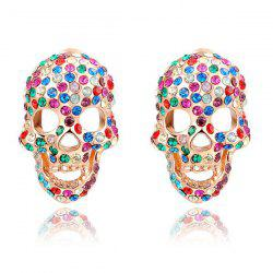 Pair of Rhinestone Skull Stud Earrings