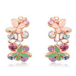 Pair of Rhinestone Butterfly Earrings - ROSE GOLD