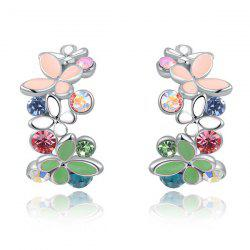 Pair of Rhinestone Butterfly Earrings