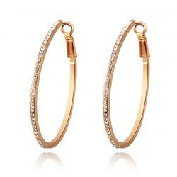 Pair of Rhinestones Hoop Earrings